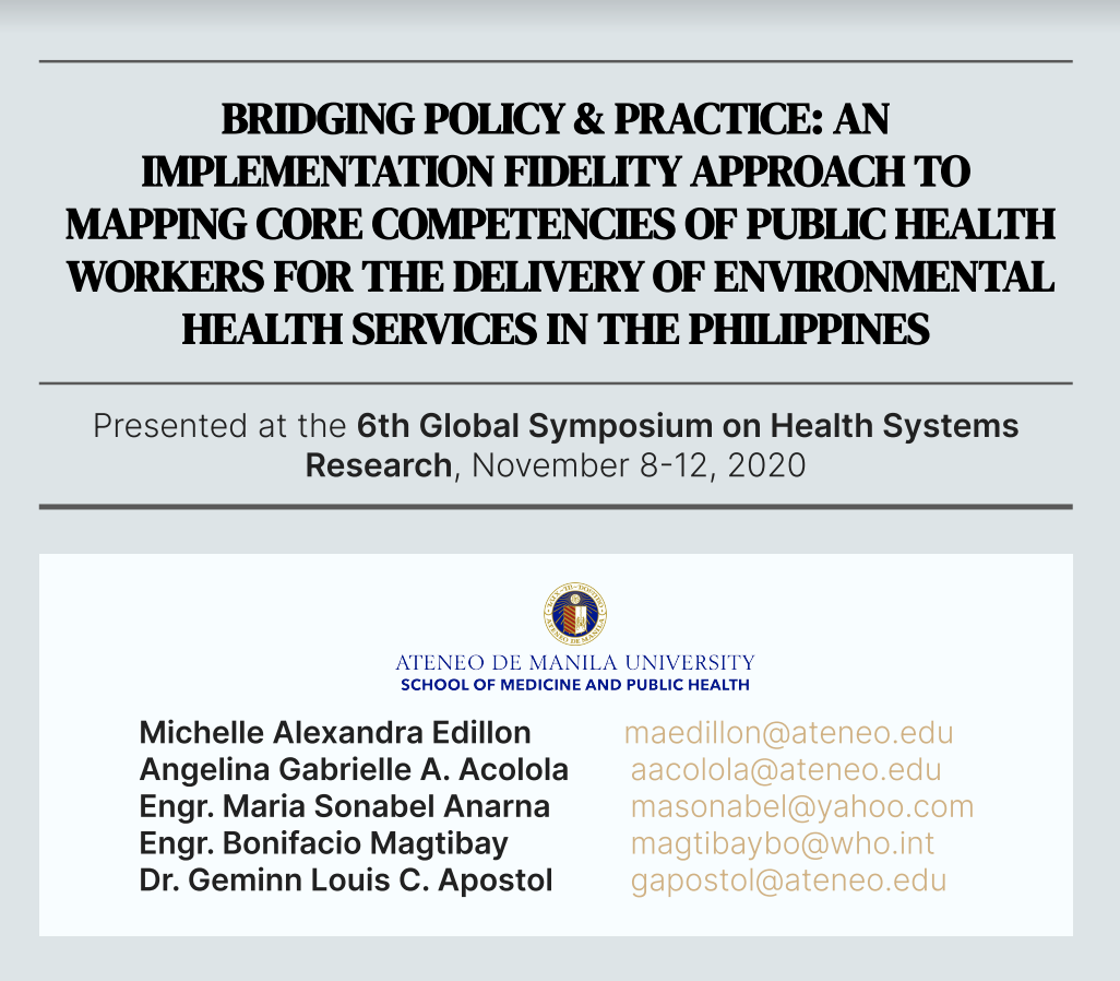 Image for Bridging Policy & Practice: Mapping the core competencies of environmental health services in the Philippines